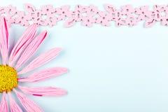 Ευχετήρια κάρτα με το ρόδινο λουλούδι στοκ εικόνες