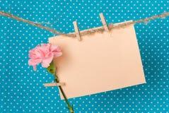Ευχετήρια κάρτα με το ρόδινο γαρίφαλο Στοκ εικόνες με δικαίωμα ελεύθερης χρήσης