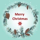 Ευχετήρια κάρτα με το στεφάνι Χριστουγέννων Στοκ Εικόνα