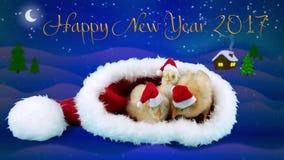 Ευχετήρια κάρτα με το σύμβολο του 2017, τρεις αστείοι νέοι κόκκορες στα κόκκινα καπέλα απόθεμα βίντεο