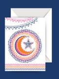 Ευχετήρια κάρτα με το φάκελο για τον εορτασμό Eid Στοκ εικόνες με δικαίωμα ελεύθερης χρήσης