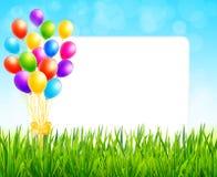 Ευχετήρια κάρτα με το φύλλο εγγράφου και τα ζωηρόχρωμα μπαλόνια Στοκ Εικόνα