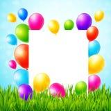 Ευχετήρια κάρτα με το φύλλο εγγράφου και τα ζωηρόχρωμα μπαλόνια Στοκ εικόνα με δικαίωμα ελεύθερης χρήσης