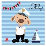 Ευχετήρια κάρτα με το χαριτωμένο σκυλί μπλε θαλάσσιο άνευ ραφής θέμα θάλασσας Στοκ εικόνα με δικαίωμα ελεύθερης χρήσης