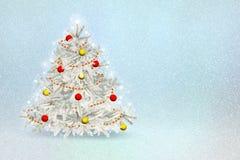 Ευχετήρια κάρτα με το χριστουγεννιάτικο δέντρο στις διακοσμήσεις Στοκ Εικόνα