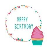 Ευχετήρια κάρτα με το cupcake διανυσματική απεικόνιση