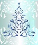 Ευχετήρια κάρτα με Χριστούγεννα σε ένα μπλε υπόβαθρο Στοκ Φωτογραφίες