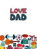 Ευχετήρια κάρτα μπαμπάδων αγάπης στο ύφος doodle Τρόπος ζωής ατόμων s, αθλητικός εξοπλισμός, ενδύματα και εξαρτήματα διανυσματική απεικόνιση