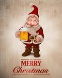 Ευχετήρια κάρτα μπύρας Άγιου Βασίλη Στοκ Εικόνες