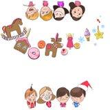 Ευχετήρια κάρτα, νέα έτος και Χριστούγεννα διανυσματική απεικόνιση