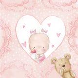 Ευχετήρια κάρτα ντους μωρών Κοριτσάκι με το teddy, υπόβαθρο αγάπης για τα παιδιά Πρόσκληση βαπτίσματος Νεογέννητο σχέδιο καρτών Στοκ Εικόνα