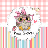 Ευχετήρια κάρτα ντους μωρών με την κουκουβάγια απεικόνιση αποθεμάτων