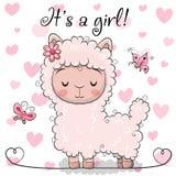 Ευχετήρια κάρτα ντους μωρών με το κορίτσι προβατοκαμήλου απεικόνιση αποθεμάτων