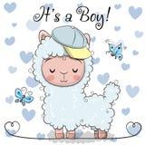 Ευχετήρια κάρτα ντους μωρών με το χαριτωμένο αγόρι προβατοκαμήλου ελεύθερη απεικόνιση δικαιώματος