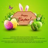 Ευχετήρια κάρτα Πάσχας με ένα ξύλινο σημάδι, τα αυτιά λαγουδάκι, τα αυγά και τη χλόη σε ένα πράσινο υπόβαθρο διανυσματική απεικόνιση