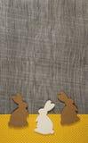 Ευχετήρια κάρτα Πάσχας με τα κουνέλια στο ξύλινο πλαίσιο Στοκ Φωτογραφίες