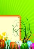 Ευχετήρια κάρτα Πάσχας με τα χρωματισμένα αυγά ελεύθερη απεικόνιση δικαιώματος