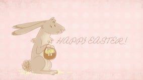 Ευχετήρια κάρτα Πάσχας με τη χαριτωμένη απεικόνιση λαγουδάκι στοκ φωτογραφία