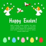 Ευχετήρια κάρτα Πάσχας με τους αγγέλους και τα αυγά Στοκ Εικόνα