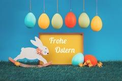 Ευχετήρια κάρτα Πάσχας με το λαγουδάκι Πάσχας στοκ φωτογραφία με δικαίωμα ελεύθερης χρήσης