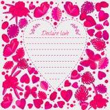 Ευχετήρια κάρτα, πεταλούδες και λουλούδια cartoon doodle ύφος, καλή εικόνα κεντρική καρδιά Στοκ φωτογραφία με δικαίωμα ελεύθερης χρήσης