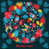 Ευχετήρια κάρτα, πεταλούδες και λουλούδια cartoon doodle ύφος, χαριτωμένη εικόνα Στοκ Εικόνες