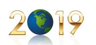 Ευχετήρια κάρτα 2019, που παρουσιάζει την Αμερική-δευτερεύουσα γη απεικόνιση αποθεμάτων