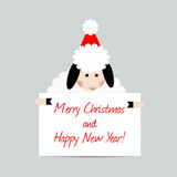 Ευχετήρια κάρτα προβάτων Χριστουγέννων Στοκ Εικόνα