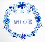 Ευχετήρια κάρτα στεφανιών χειμερινών λουλουδιών Στοκ Εικόνες