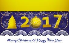 Ευχετήρια κάρτα στο νέο έτος 2017 και τη Χαρούμενα Χριστούγεννα στο μπλε υπόβαθρο Στοκ φωτογραφία με δικαίωμα ελεύθερης χρήσης