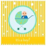 Ευχετήρια κάρτα στο νεογέννητο μωρό Αυτό s ένα αγόρι Στοκ εικόνα με δικαίωμα ελεύθερης χρήσης