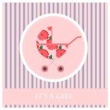 Ευχετήρια κάρτα στο νεογέννητο μωρό Αυτό s ένα κορίτσι Στοκ Φωτογραφία
