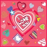 Ευχετήρια κάρτα σχεδίου τέχνης με τις καρδιές Στοκ Εικόνα