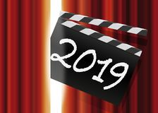 ευχετήρια κάρτα του 2019 για τον κινηματογράφο και ο κόσμος της ψυχαγωγίας ελεύθερη απεικόνιση δικαιώματος