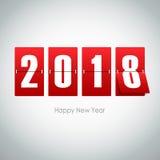 ευχετήρια κάρτα του 2018 στο γκρίζο υπόβαθρο στοκ φωτογραφίες