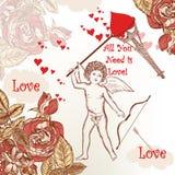 Ευχετήρια κάρτα του χαριτωμένου βαλεντίνου με τον πύργο Eifel ερωτοδουλειάς, τριαντάφυλλα και Στοκ εικόνα με δικαίωμα ελεύθερης χρήσης
