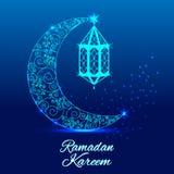 Ευχετήρια κάρτα του Kareem Ramadan Λαμπρό διακοσμημένο ημισεληνοειδές φεγγάρι απεικόνιση αποθεμάτων