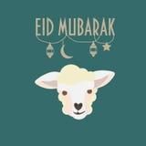 Ευχετήρια κάρτα του Mubarak Eid Eid Al-Adha Φεστιβάλ της αφίσας θυσίας Στοκ Φωτογραφίες