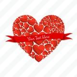 Ευχετήρια κάρτα των κόκκινων καρδιών Στοκ Εικόνες
