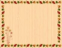 Ευχετήρια κάρτα φθινοπώρου με τα σύνορα φύλλων Στοκ Φωτογραφία