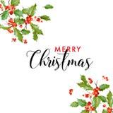 Ευχετήρια κάρτα φύλλων της Holly χειμερινής Χαρούμενα Χριστούγεννας floral αναδρομικός ανασκόπηση&si Πρότυπο σχεδίου για τον εορτ Στοκ φωτογραφία με δικαίωμα ελεύθερης χρήσης