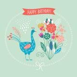 Ευχετήρια κάρτα, χαριτωμένη floral απεικόνιση Στοκ Εικόνες