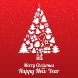 Ευχετήρια κάρτα Χαρούμενα Χριστούγεννας. Δέντρο των επίπεδων εικονιδίων. Στοκ Φωτογραφία