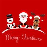Ευχετήρια κάρτα Χαρούμενα Χριστούγεννας με Άγιο Βασίλη, τάρανδος και Sno διανυσματική απεικόνιση