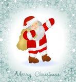 Ευχετήρια κάρτα Χαρούμενα Χριστούγεννας με Άγιο Βασίλη και τα σύνορα snowflakes Στοκ Φωτογραφίες