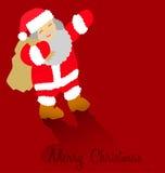 Ευχετήρια κάρτα Χαρούμενα Χριστούγεννας με Άγιο Βασίλη Στοκ εικόνες με δικαίωμα ελεύθερης χρήσης