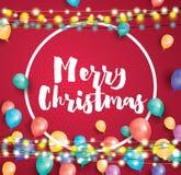 Ευχετήρια κάρτα Χαρούμενα Χριστούγεννας με τα πετώντας μπαλόνια, άσπρο πλαίσιο ελεύθερη απεικόνιση δικαιώματος