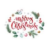 Ευχετήρια κάρτα Χαρούμενα Χριστούγεννας με τα στοιχεία χειμώνα και Χριστουγέννων Στοκ Εικόνα