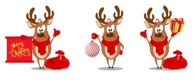 Ευχετήρια κάρτα Χαρούμενα Χριστούγεννας με τον αστείο τάρανδο Στοκ εικόνα με δικαίωμα ελεύθερης χρήσης