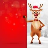 Ευχετήρια κάρτα Χαρούμενα Χριστούγεννας με τον τάρανδο κινούμενων σχεδίων ελεύθερη απεικόνιση δικαιώματος